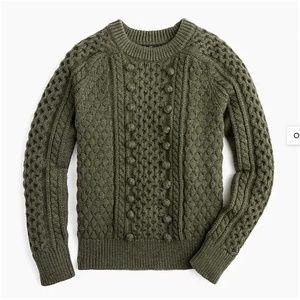 J.Crew Popcorn cable-knit sweater-K5311-green/oliv